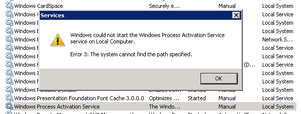 Troubleshoot 'Windows Process Activation Service' failed to start